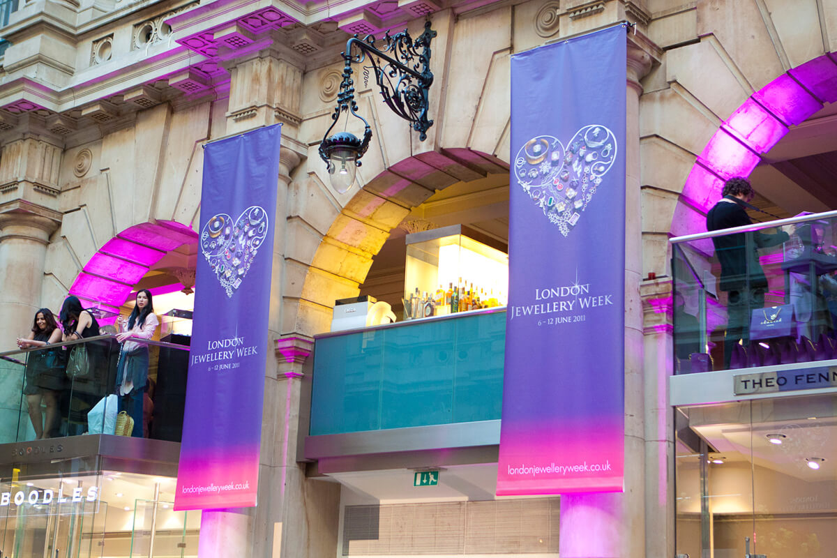 Banners at the Royal Exchange, design by Broadbase