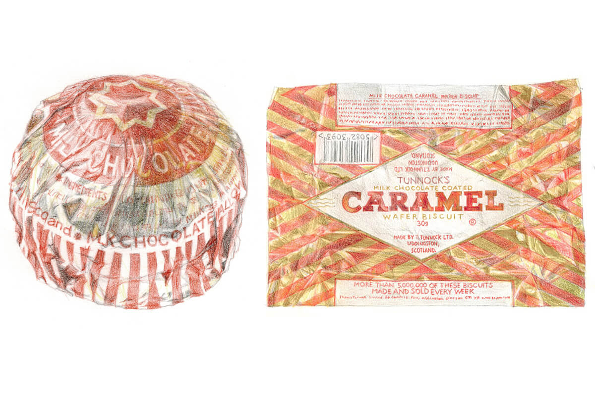 Illustration of Tunnocks teacake and wafer by Andrew @Broadbase